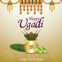 Gudi padwa creative greeting card vector