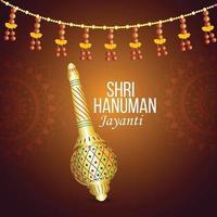 tarjeta de felicitación de celebración de hanuman jayanti y fondo con el arma del señor hanuman vector