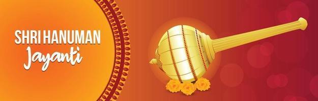 banner o encabezado de shri hanuman jayanti vector