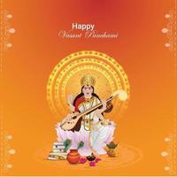 Indian festival happy vasant panchami celebration greeting card vector