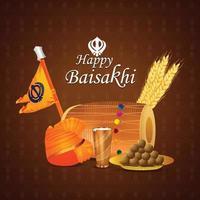Ilustración de la tarjeta de felicitación de la celebración del baisakhi del festival punjabi vector