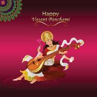 Creative illustration of goddess saraswati happy vasant panchami vector