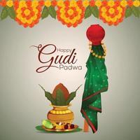 feliz tarjeta de felicitación del festival indio de ugadi