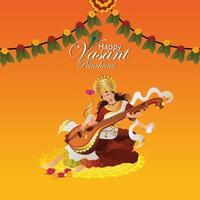 Illustration of goddess saraswati, happy vasant panchami vector