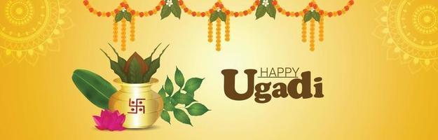 Feliz celebración de ugadi tarjeta de felicitación o banner con kalash