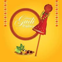 Happy ugadi celebration greeting card vector
