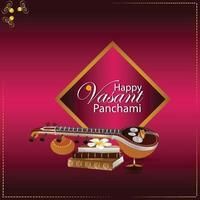 Vasant panchami creative background with saraswati veena and books vector