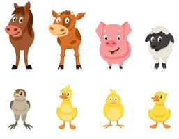 Set of farm animals front view. vector