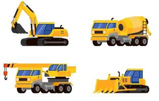 Set of heavy machinery three quarter view. vector