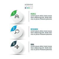 3-step circular format for presenting and planning work in a business or setting work goals. vector