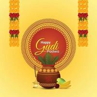 feliz ilustración de celebración de gudi padwa con kalash realista