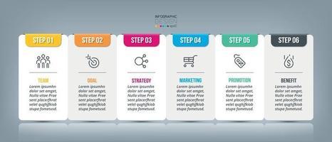 diseño cuadrado, 6 pasos a utilizar para la planificación. presentación de información para empresas, marketing y otros. vector
