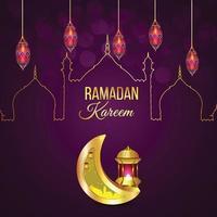 Islamic greetings ramadan kareem greeting card vector