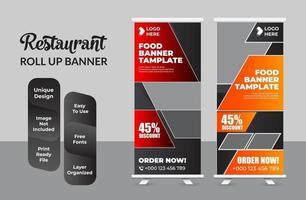 Creative Restaurant food Roll-up Banner Bundle Templates vector