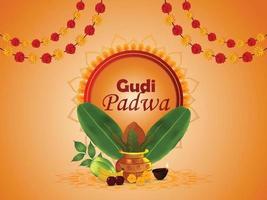 Happy gudi padwa celebration greeting card vector