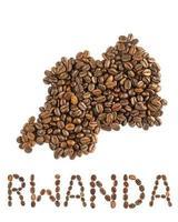 Map of Rwanda made of roasted coffee beans isolated on white background photo