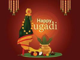 tarjeta de felicitación de celebración de gudi padwa