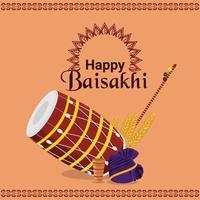 feliz celebración de la ilustración del festival sij vaisakhi vector