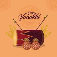 diseño plano feliz vaisakhi con tambor vector