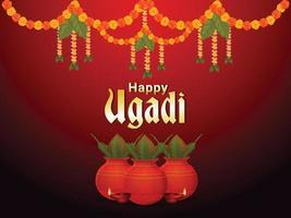 feliz tarjeta de felicitación del evento gudi padwa con kalash creativo