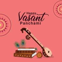 Vasant Panchami with Saraswati illustration vector