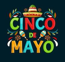 Cinco de mayo. May 5, holiday in Mexico. Poster with Mexican decorations. Cartoon style. Vector banner.