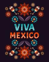 Viva Mexico. Colorful Mexican flowers, patterns and ornamert and chilli peppers. Vector illustration