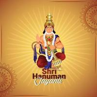 tarjeta de felicitación de celebración de hanuman jayanti vector