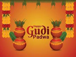 feliz tarjeta de felicitación de celebración del festival navideño de gudi padwa