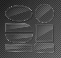 Glass plates set. Circle glass banners vector