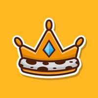 icono de corona dorada con diamante. diseño de ilustración vectorial. vector