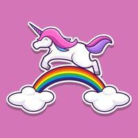 Unicorn jumps on a rainbow sticker. Vector illustration design.