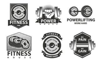 Fitness emblems or logos with barbell and rod, power house, powerlifting. vector