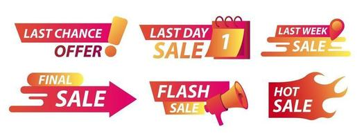 Sale countdown badges. Last chance offer banner, last day sales with calendar and hot sale in fire. Vector illustration