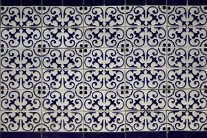 Decorative tiles from building in Santiago Chile photo