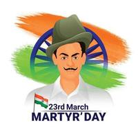 Indian freedom fighter shaheed bhagat singh illustration background vector