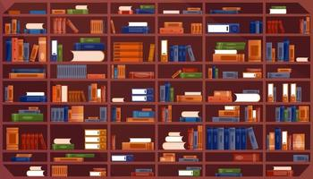 Large Bookcase with books. Library book shelf interior. Books and knowledge. Vector illustration pattern