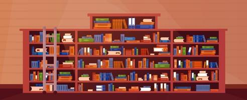 Librería grande con libros con escalera, escalera. interior del estante del libro de la biblioteca. libros y conocimientos. vector