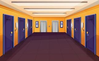 Pasillo en el hotel, interior del pasillo del albergue vacío con ascensor y puertas cerradas. fondo del pasillo del motel. vector