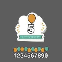 5 Year Anniversary Vector Template Design Illustration