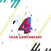 4 Year Anniversary Vector Template Design Illustration
