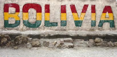 Bolivia sign at Salar de uyuni photo