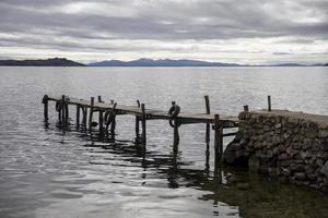 Wooden dock at Isla del Sol on Titicaca lake photo