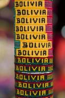 Colorful souvenirs on the market in Copacabana, Bolivia photo