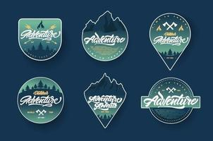 Adventure lettering set logos or emblems with gradient. Vintage logotype with mountains, bonfires and arrows. vector