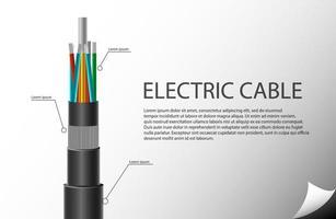 tecnología de cable eléctrico. estilo realista aislado. vector