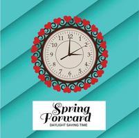 Ilustración vectorial de un banner para cambiar el mensaje de relojes para el horario de verano. vector