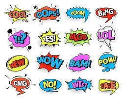 Comic speech bubble set with text with Wow, Bang, Omg, Boom, Yeah, Pow, Zap. Vector cartoon explosions.