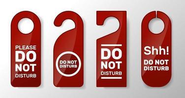 No molestar el conjunto de señales. firmar para cerrar la puerta en el hotel. Mensajes de advertencia aislados sobre fondo blanco. vector