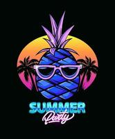 Pineapple illustration with palm trees and sunset. Summer party. Neon. Party. iIllustration for t-shirt print. Vector fashion illustration